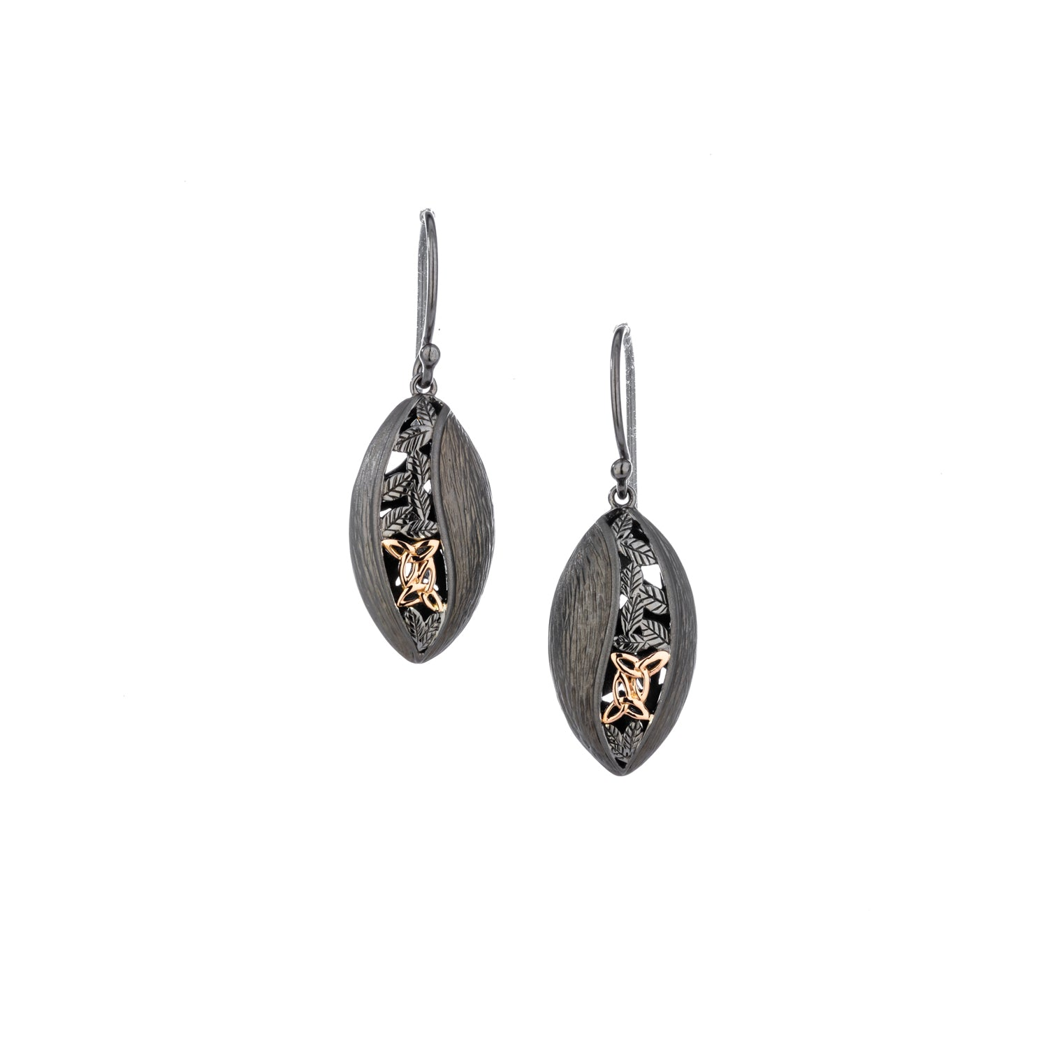 Earrings Ruthenium 10k Rose Trinity Leaf Hook Earrings from welch and company jewelers near syracuse ny