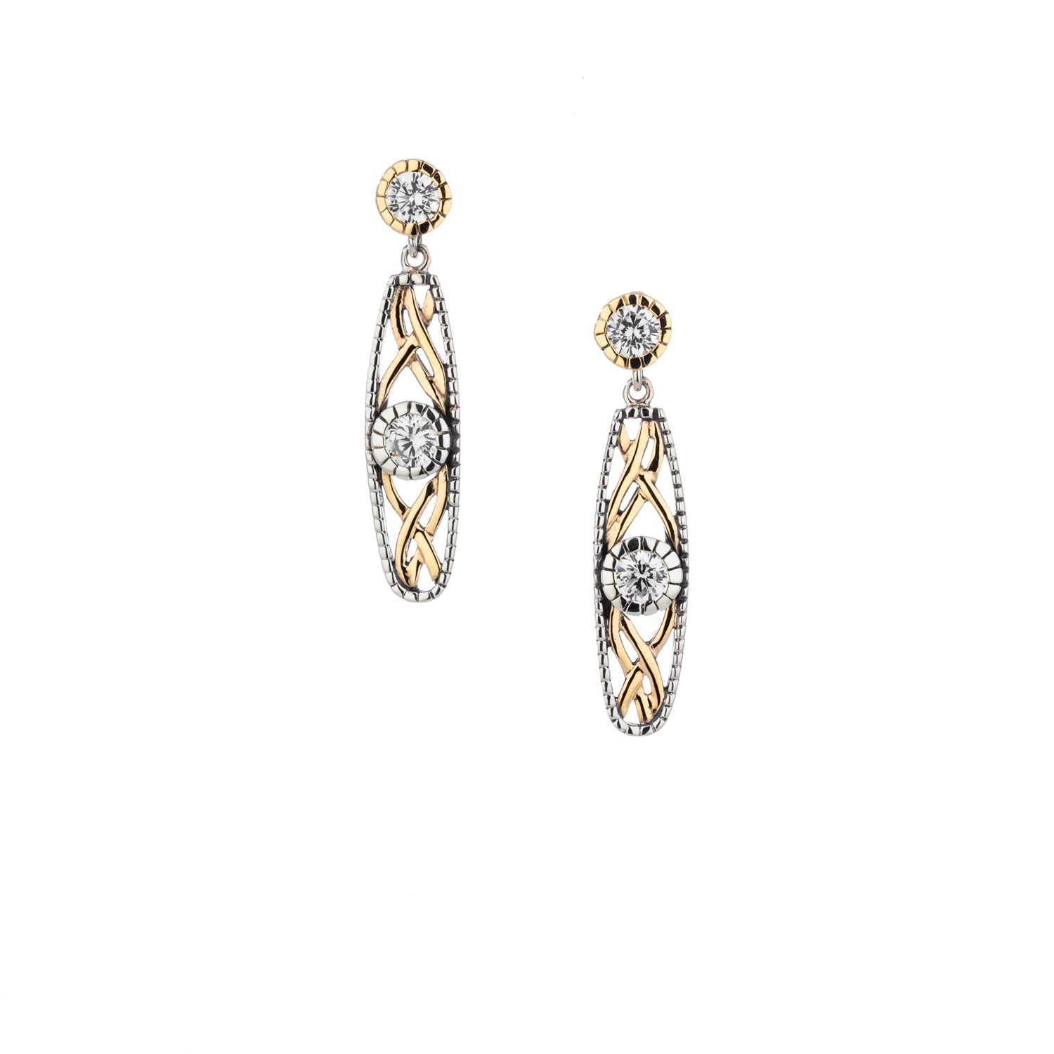 Earrings Oxidized 10k Yellow CZ Brave Heart Post Earrings from welch and company jewelers near syracuse ny