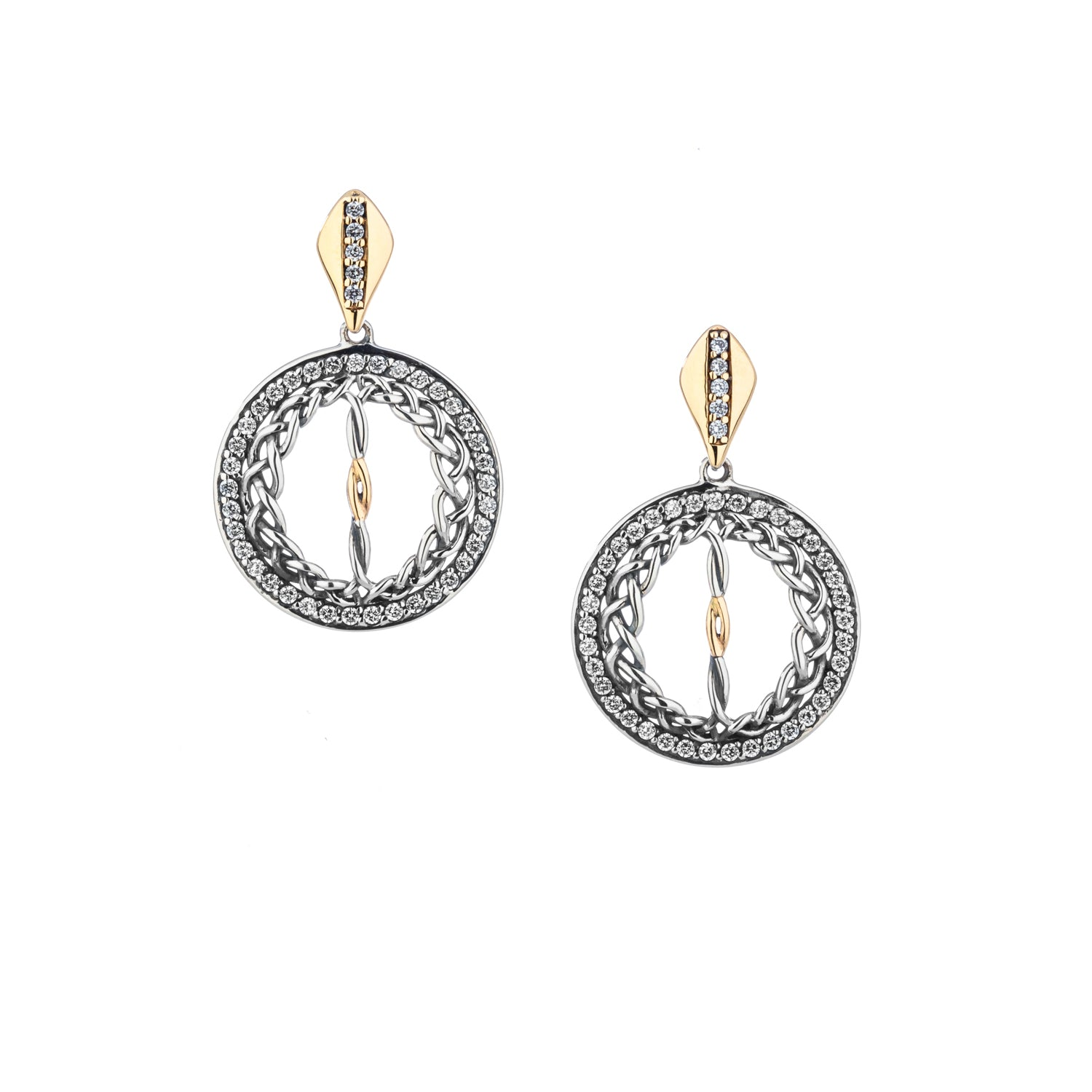 Earrings 10k CZ Woven Round Gateway Small Post Earrings from welch and company jewelers near syracuse ny