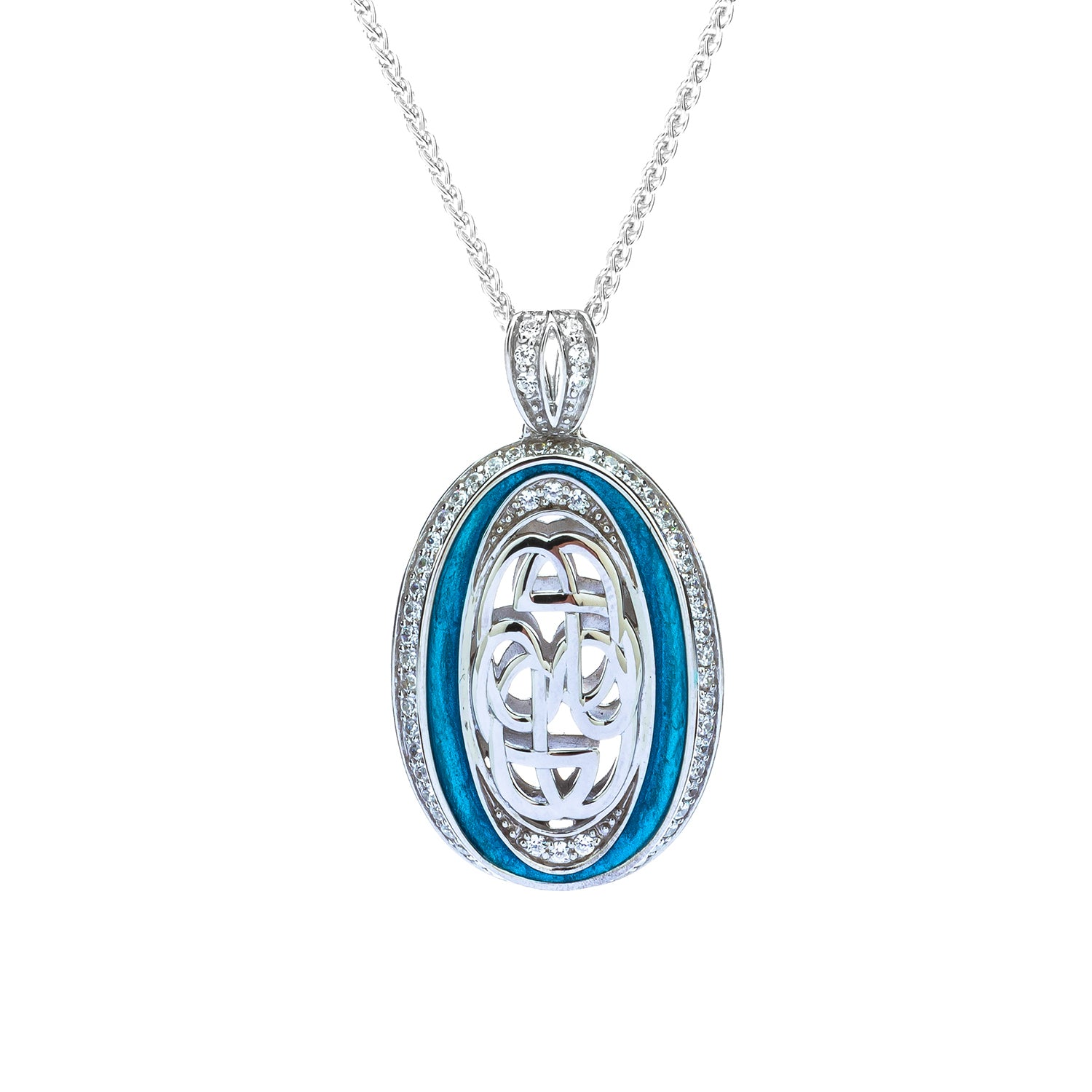 Pendant Sky Blue Enamel CZ Path of Life Large Pendant from welch and company jewelers near syracuse ny