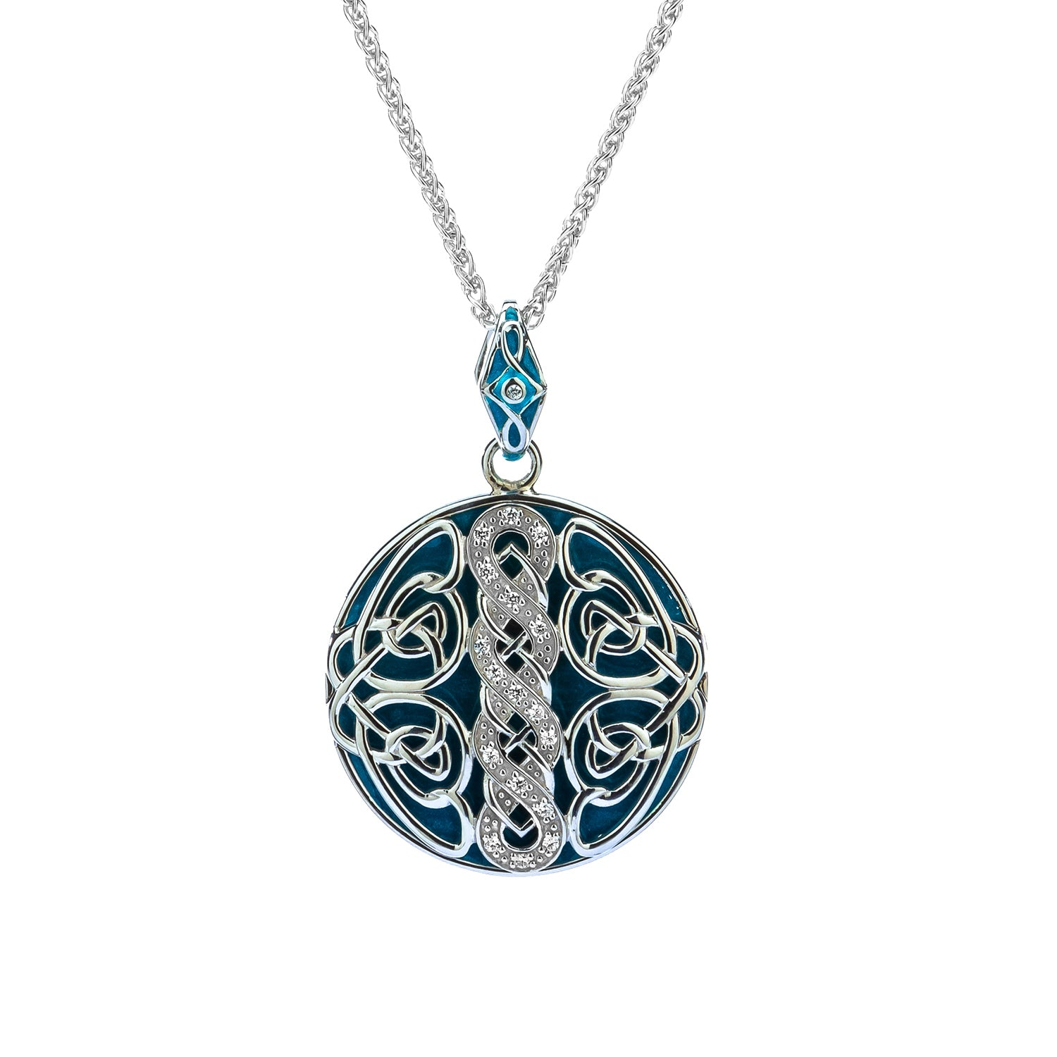 Pendant Sky Blue Enamel Black & White CZ Norse Knotwork Large Reversible Pendant from welch and company jewelers near syracuse ny