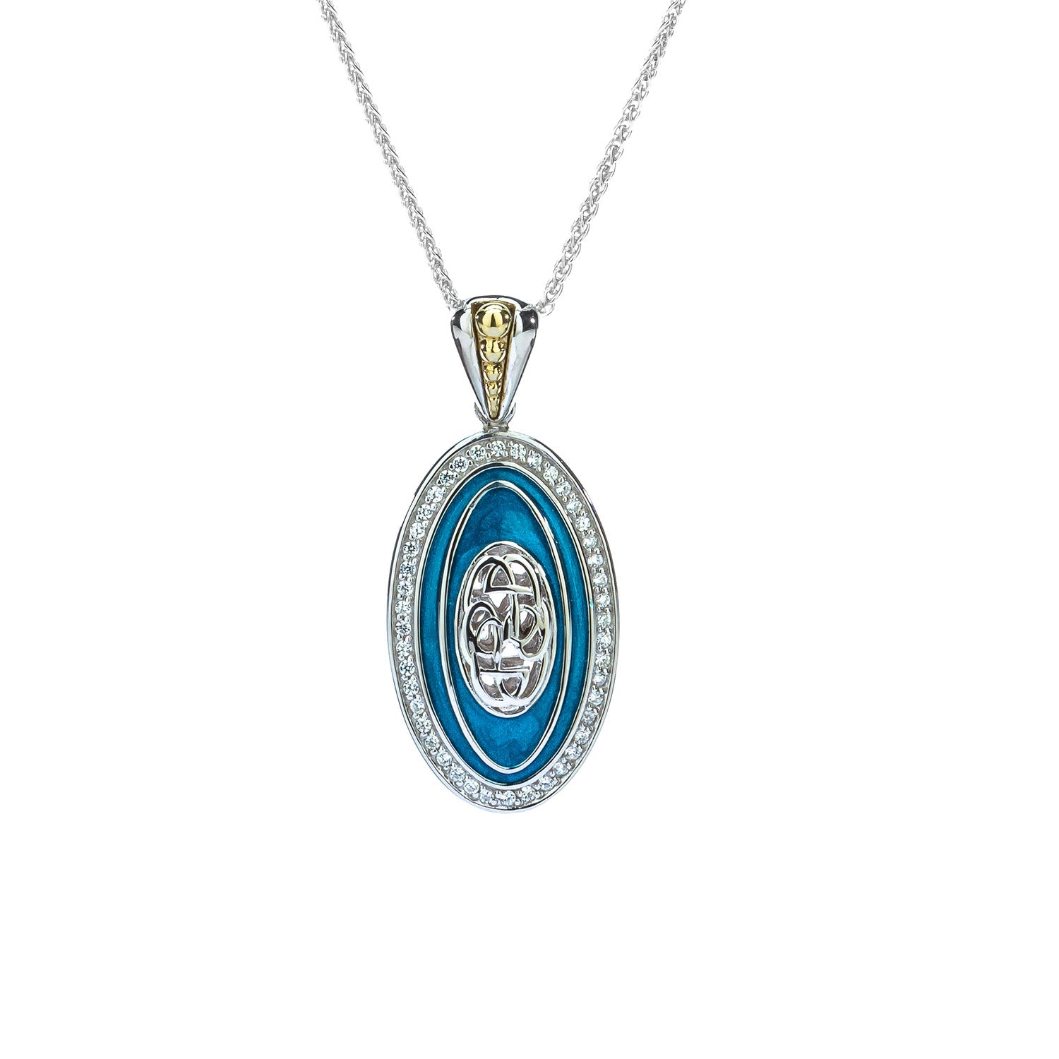 Pendant 10k Sky Blue Enamel & White CZ Path Of Life Pendant from welch and company jewelers near syracuse ny