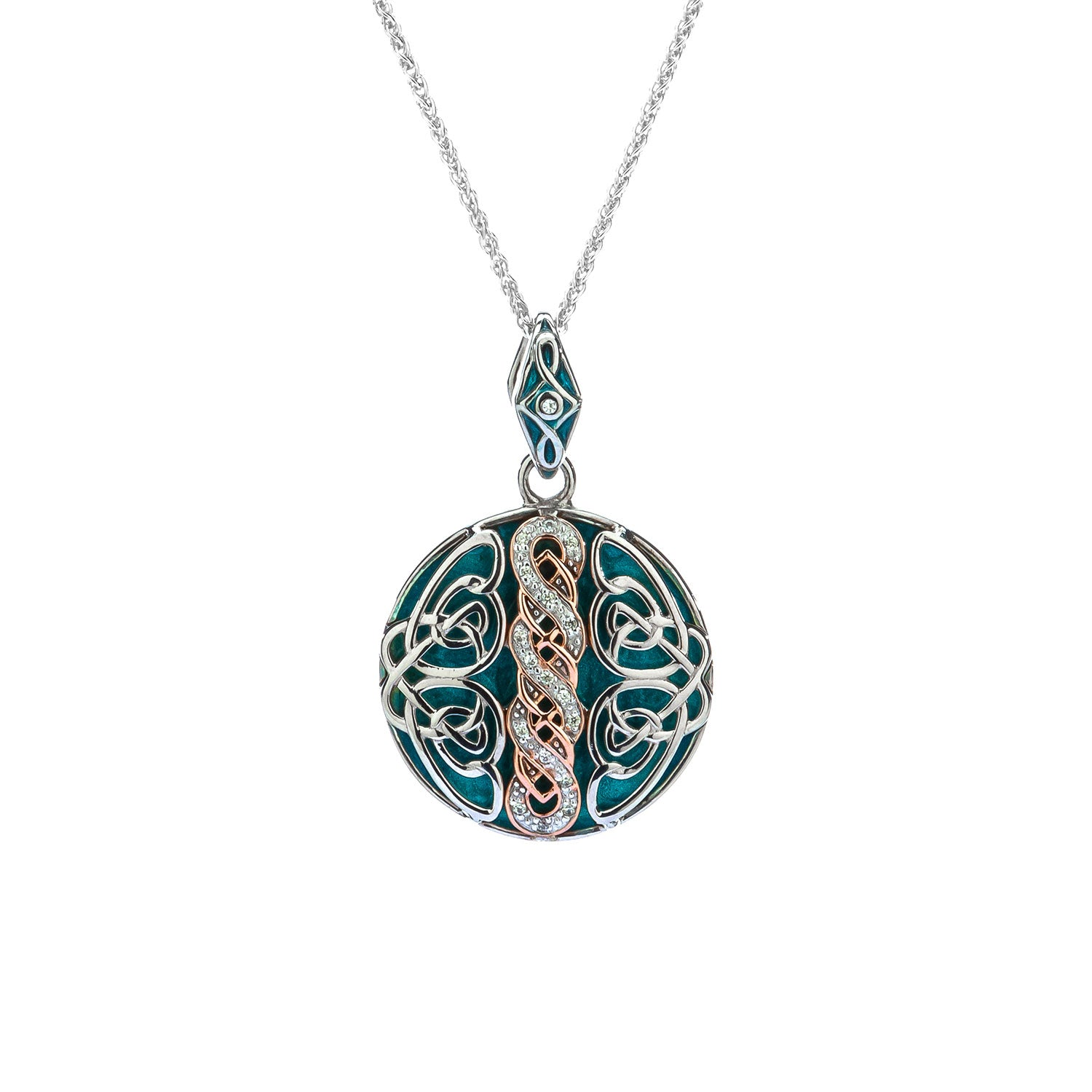 Pendant 10k Rose Sky Blue Enamel Black & White CZ Norse Knotwork Reversible Pendant from welch and company jewelers near syracuse ny