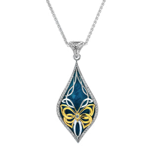 Pendant 10k Sky Blue Enamel White CZ Cocooned Butterfly Pendant from welch and company jewelers near syracuse ny