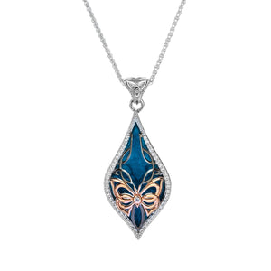 Pendant Ruthenium 10k Rose Sky Blue Enamel White CZ Cocooned Butterfly Small Pendant from welch and company jewelers near syracuse ny