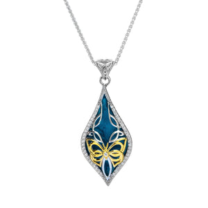 Pendant 10k Sky Blue Enamel and White CZ Cocooned Butterfly Small Pendant from welch and company jewelers near syracuse ny