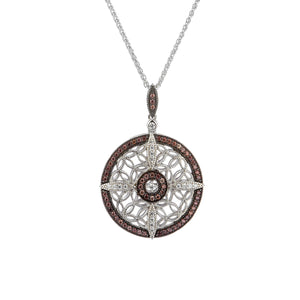 Pendant Rhodium CZ Night & Day Collection Round Pendant from welch and company jewelers near syracuse ny