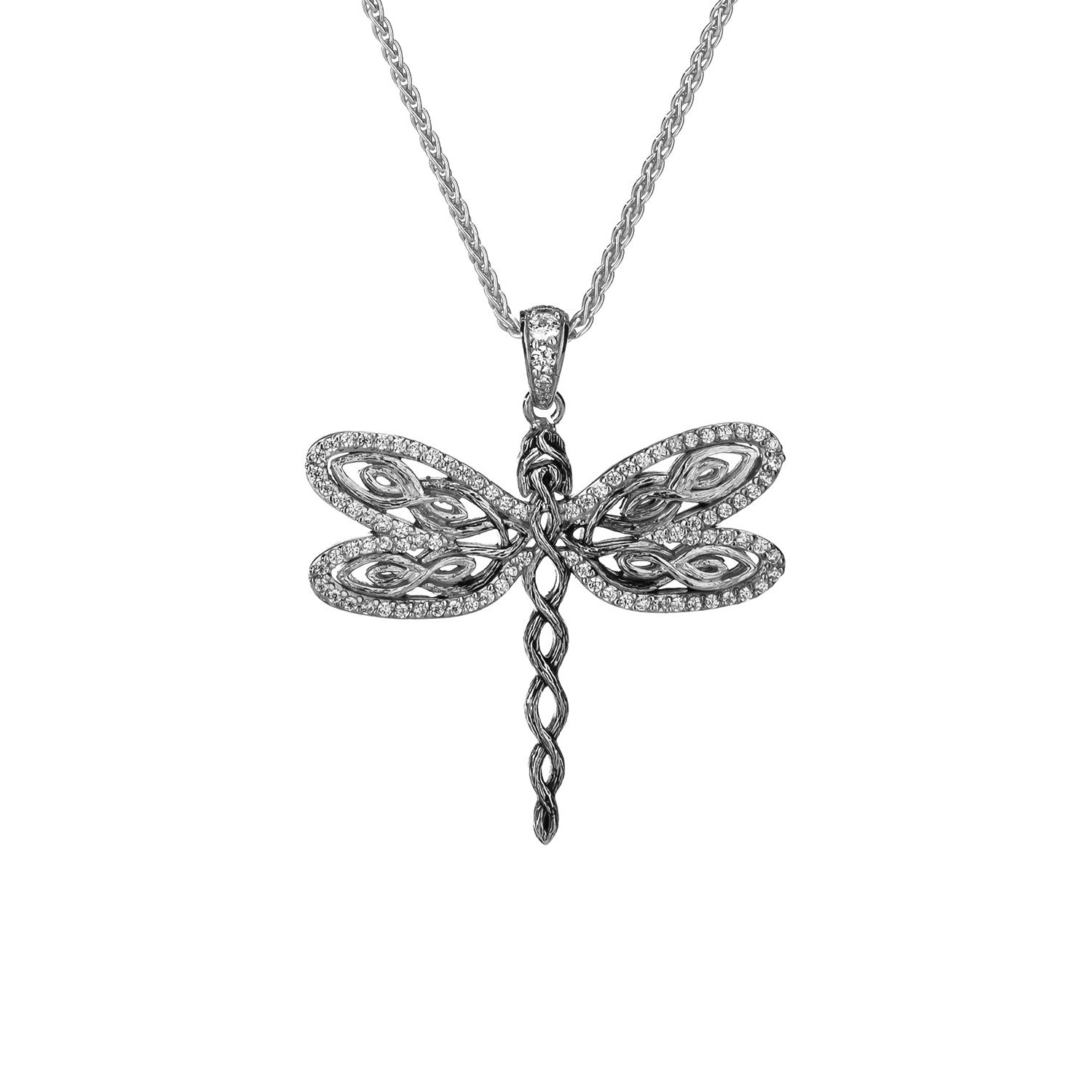 Pendant Rhodium White CZ Barked Dragonfly Pendant from welch and company jewelers near syracuse ny