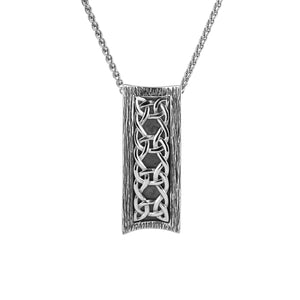 "Pendant Oxidized Rectangular Barked ""Scavaig"" Pendant from welch and company jewelers near syracuse ny"