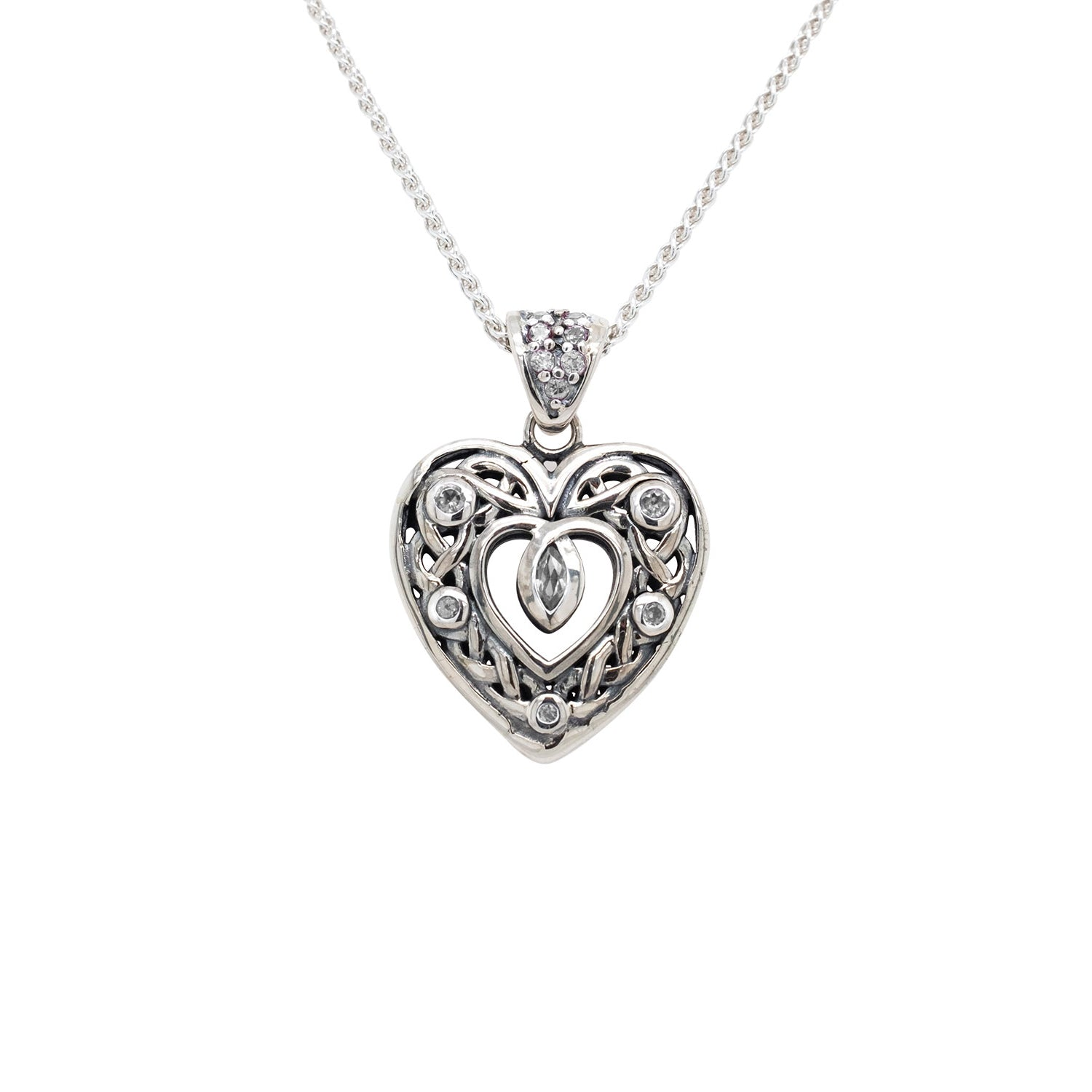 Pendant Double Sided Celtic Open Heart Small CZ Pendant from welch and company jewelers near syracuse ny