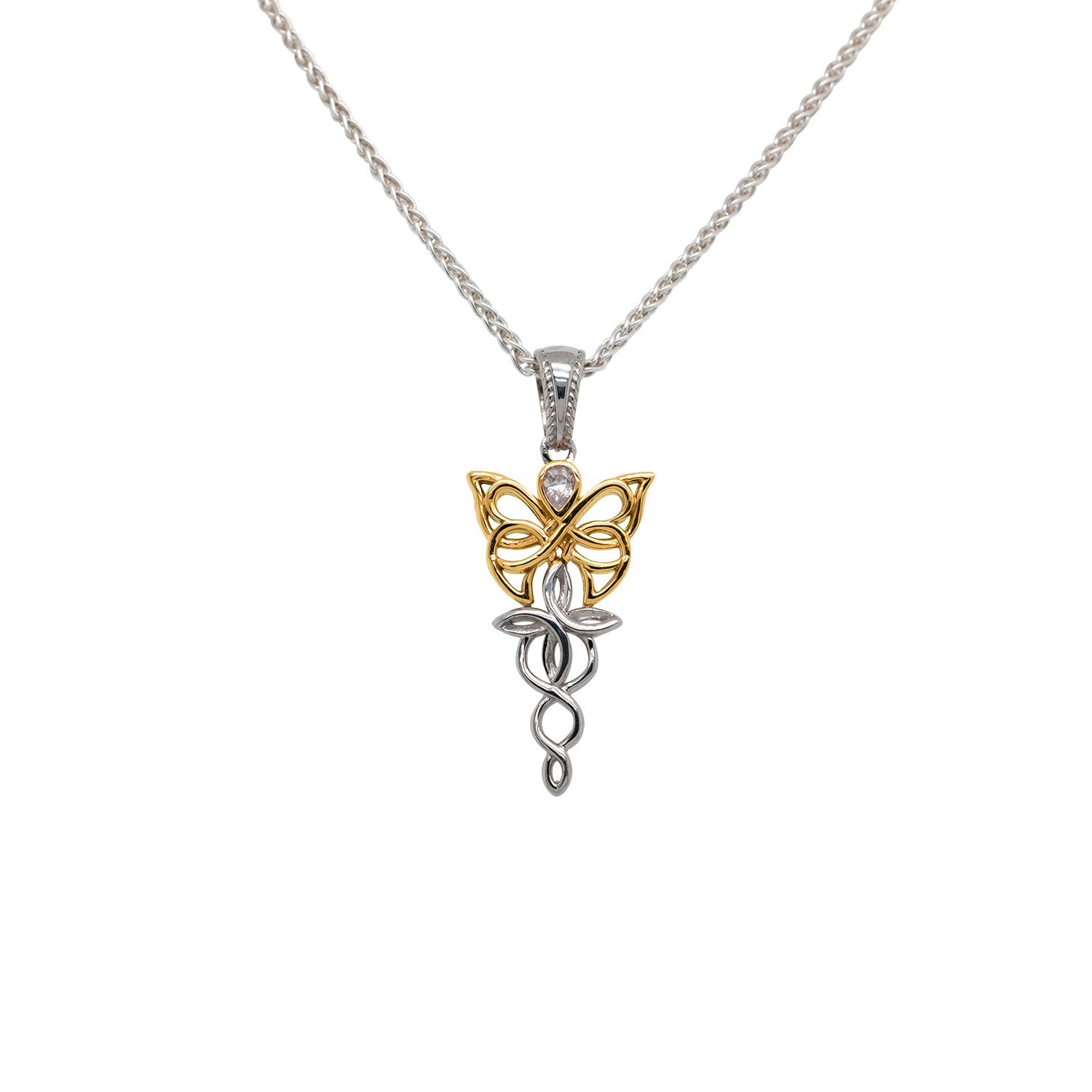 Pendant Rhodium 10k Yellow CZ Petite Butterfly Pendant from welch and company jewelers near syracuse ny