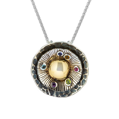 "Pendant 10k Citrine, Peridot, Sky Blue Topaz, Amethyst, Iolite, & Rhodolite ""Earth"" Element Pendant from welch and company jewelers near syracuse ny"