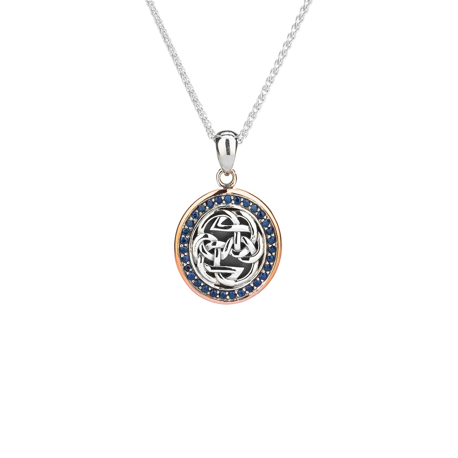 Pendant Oxidized 10k Rose Blue Sapphire Lewis Knot - Path of Life Pendant from welch and company jewelers near syracuse ny