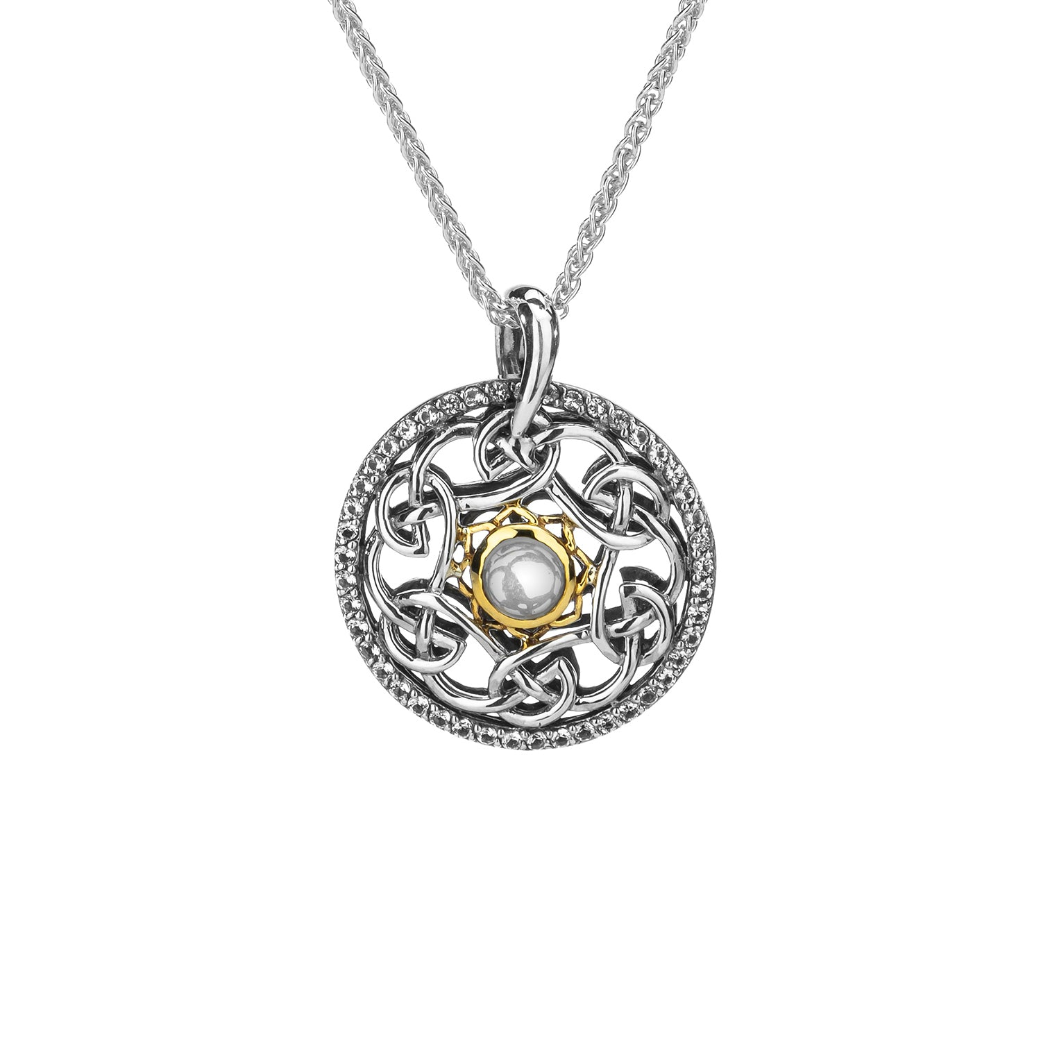 Pendant Oxidized 10k White Topaz Cab Lovers Knot Tempest Pendant from welch and company jewelers near syracuse ny
