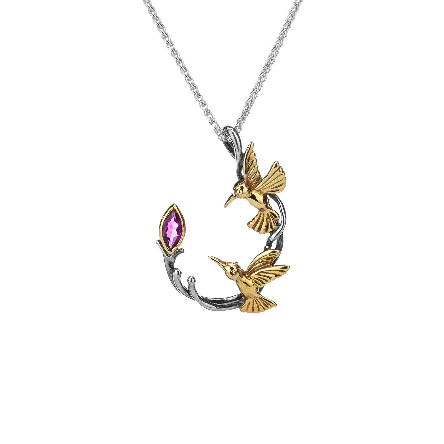 Pendant 10k Marquis Rhodolite Garnet Double Hummingbird Pendant from welch and company jewelers near syracuse ny
