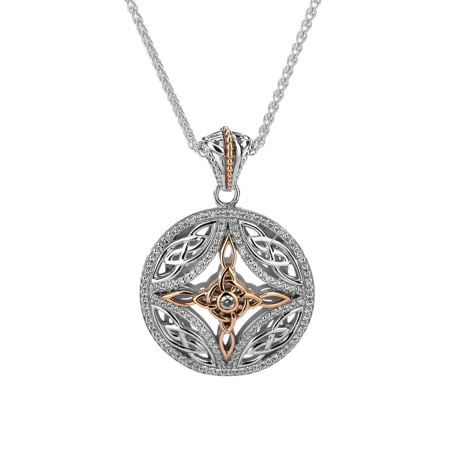 Pendant Rhodium 10k Rose CZ Cross Pendant from welch and company jewelers near syracuse ny