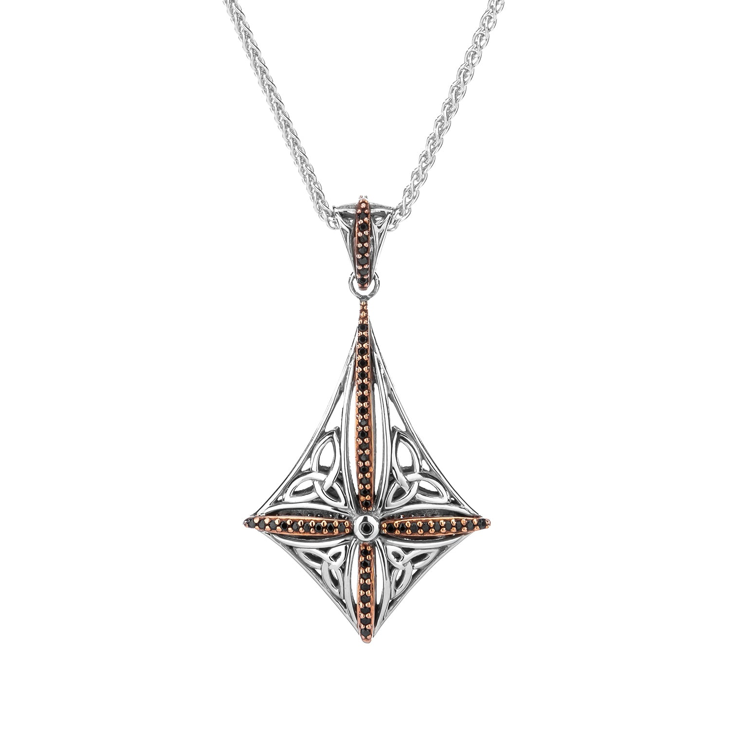 Pendant Oxidized 10k Rose Black & White CZ Reversible Compass Pendant from welch and company jewelers near syracuse ny