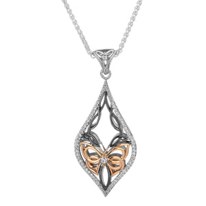 Pendant Rhutenium 10k Rose White CZ Cocooned Butterfly Pendant from welch and company jewelers near syracuse ny