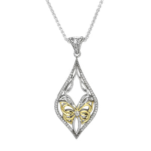 Pendant 10k White CZ Cocooned Butterfly Pendant from welch and company jewelers near syracuse ny