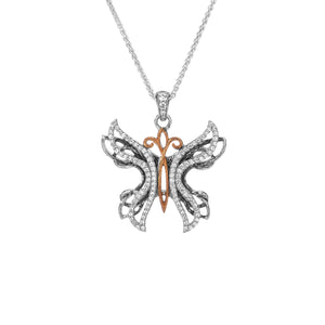 Pendant 10k Rose White CZ Barked Soaring Butterfly Pendant from welch and company jewelers near syracuse ny