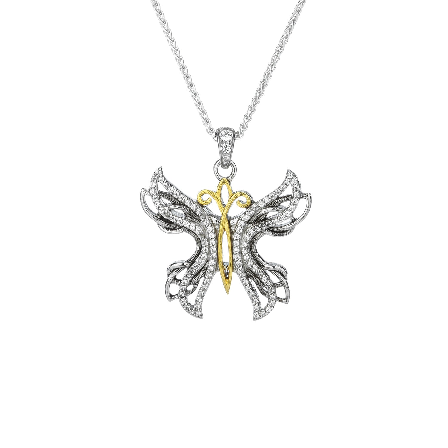 Pendant 10k White CZ Barked Soaring Butterfly Pendant from welch and company jewelers near syracuse ny
