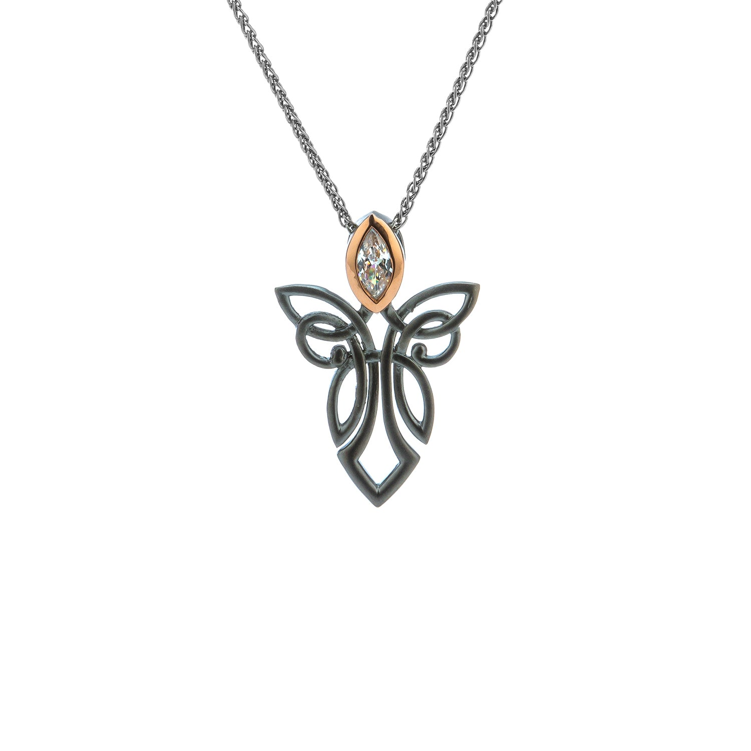 Pendant Ruthenium 10k Rose CZ Guardian Angel Pendant from welch and company jewelers near syracuse ny