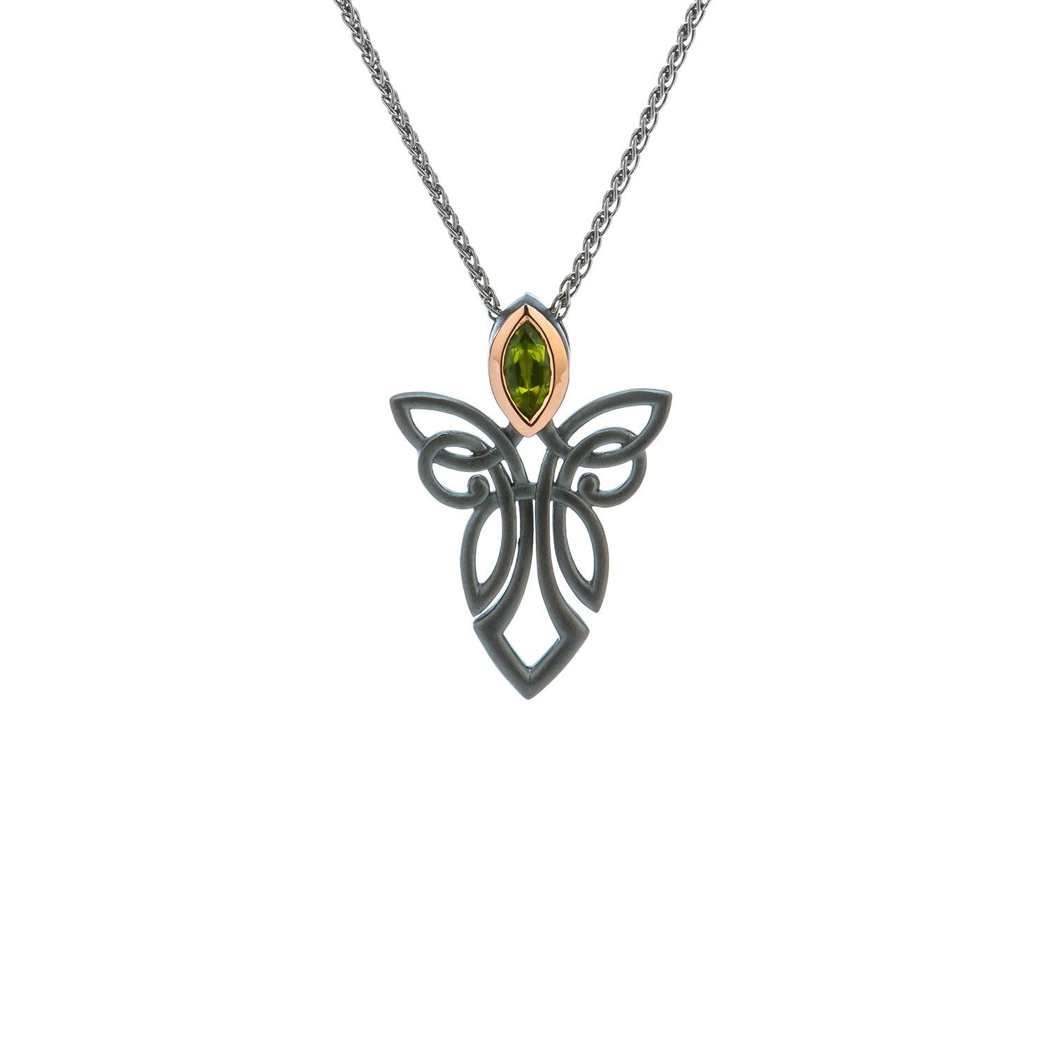 Pendant Ruthenium 10k Rose Peridot Guardian Angel Pendant from welch and company jewelers near syracuse ny