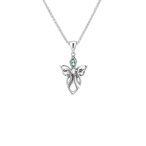 Pendant 10k Sky Blue Topaz Guardian Angel Small Pendant from welch and company jewelers near syracuse ny