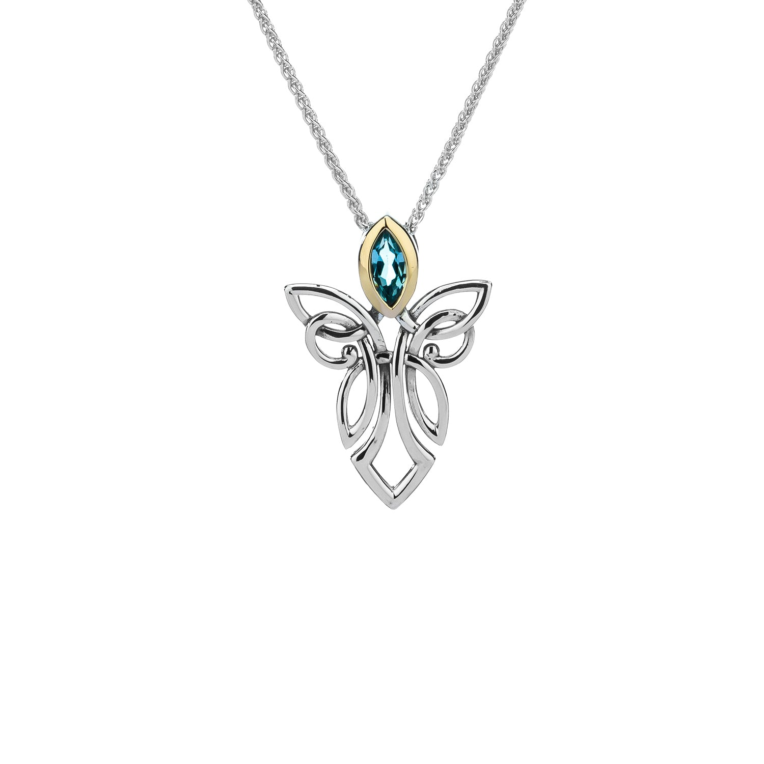 Pendant 10k Sky Blue Topaz Guardian Angel Pendant from welch and company jewelers near syracuse ny