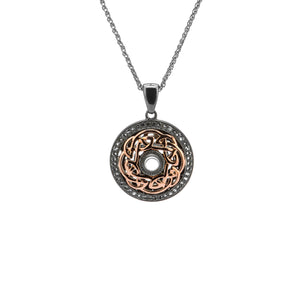 Pendant Ruthenium 10k Rose White Topaz Eternity Knot Pendant from welch and company jewelers near syracuse ny