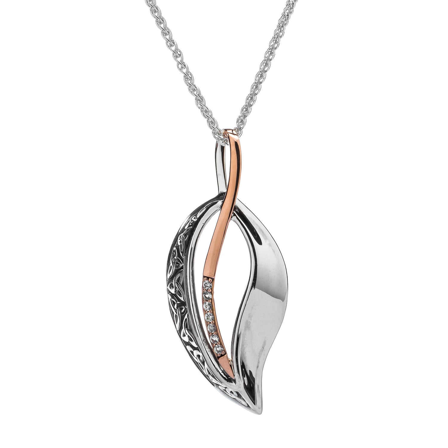 Pendant Oxidized 10k Rose White Sapphire Trinity Leaf Pendant from welch and company jewelers near syracuse ny