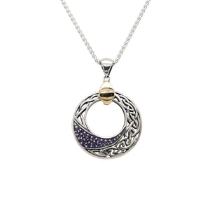 Pendant 10k Celtic Comet Amethyst Round Pendant Small from welch and company jewelers near syracuse ny