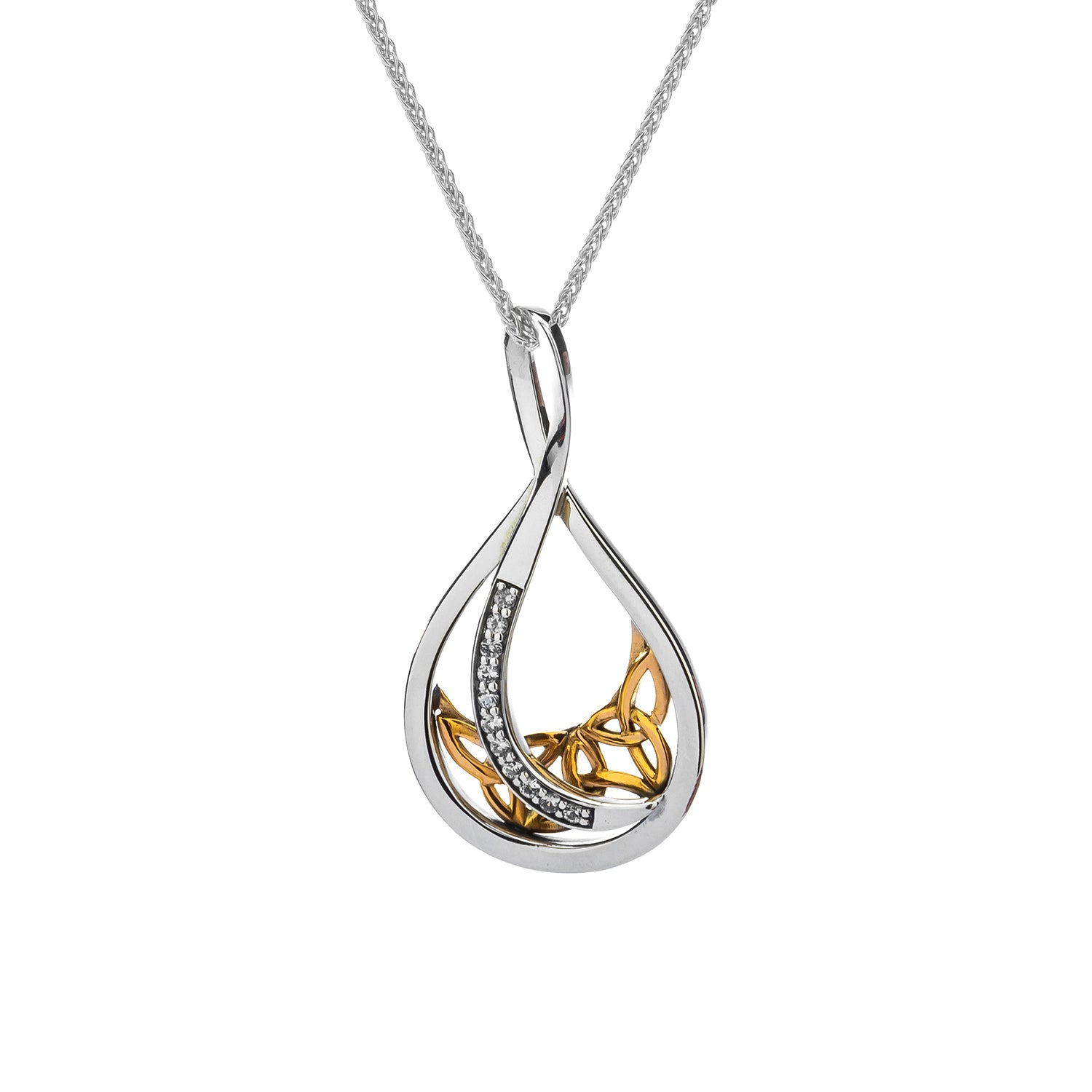 Pendant 10k White Sapphire Trinity Teardrop Large Pendant from welch and company jewelers near syracuse ny