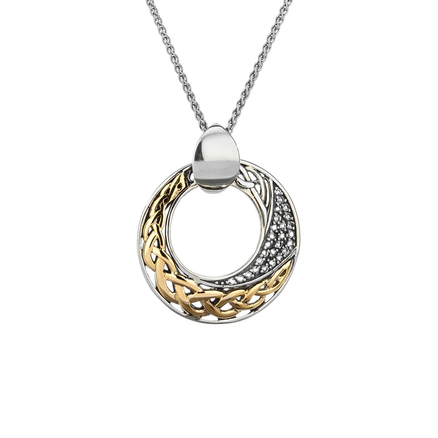 Pendant 10k Comet White Topaz Pendant with Gold Eternity Knot from welch and company jewelers near syracuse ny