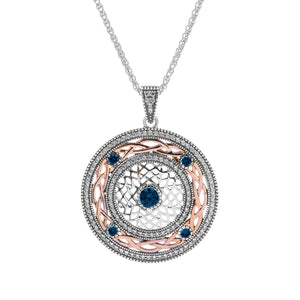 Pendant Oxidized 10k Rose with White and Blue CZ Brave Heart Pendant from welch and company jewelers near syracuse ny