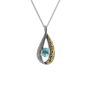Pendant 10k Sky Blue Topaz Celtic Weave Teardrop Pendant from welch and company jewelers near syracuse ny