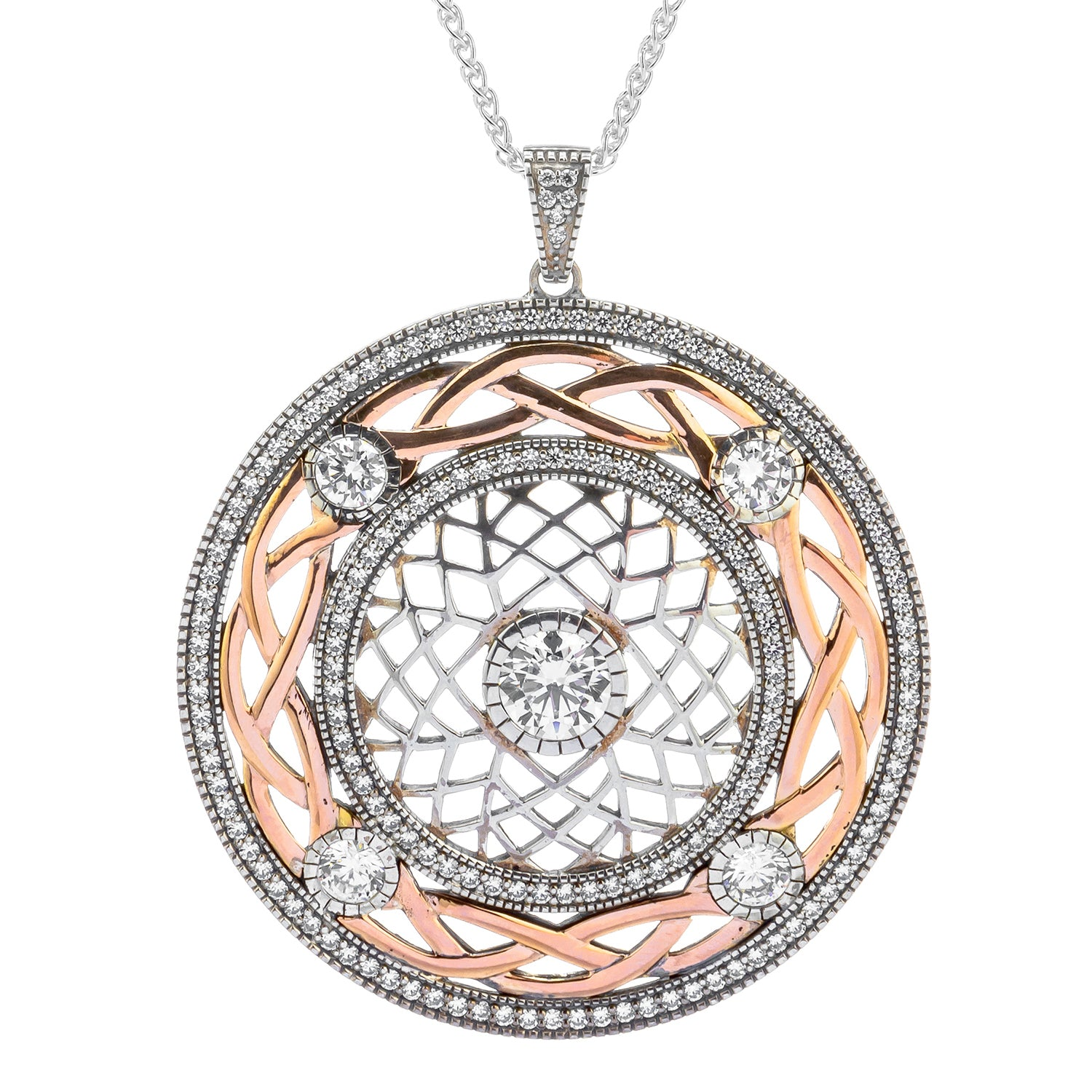 Pendant Oxidized 10k Rose CZ Brave Heart Large Pendant from welch and company jewelers near syracuse ny