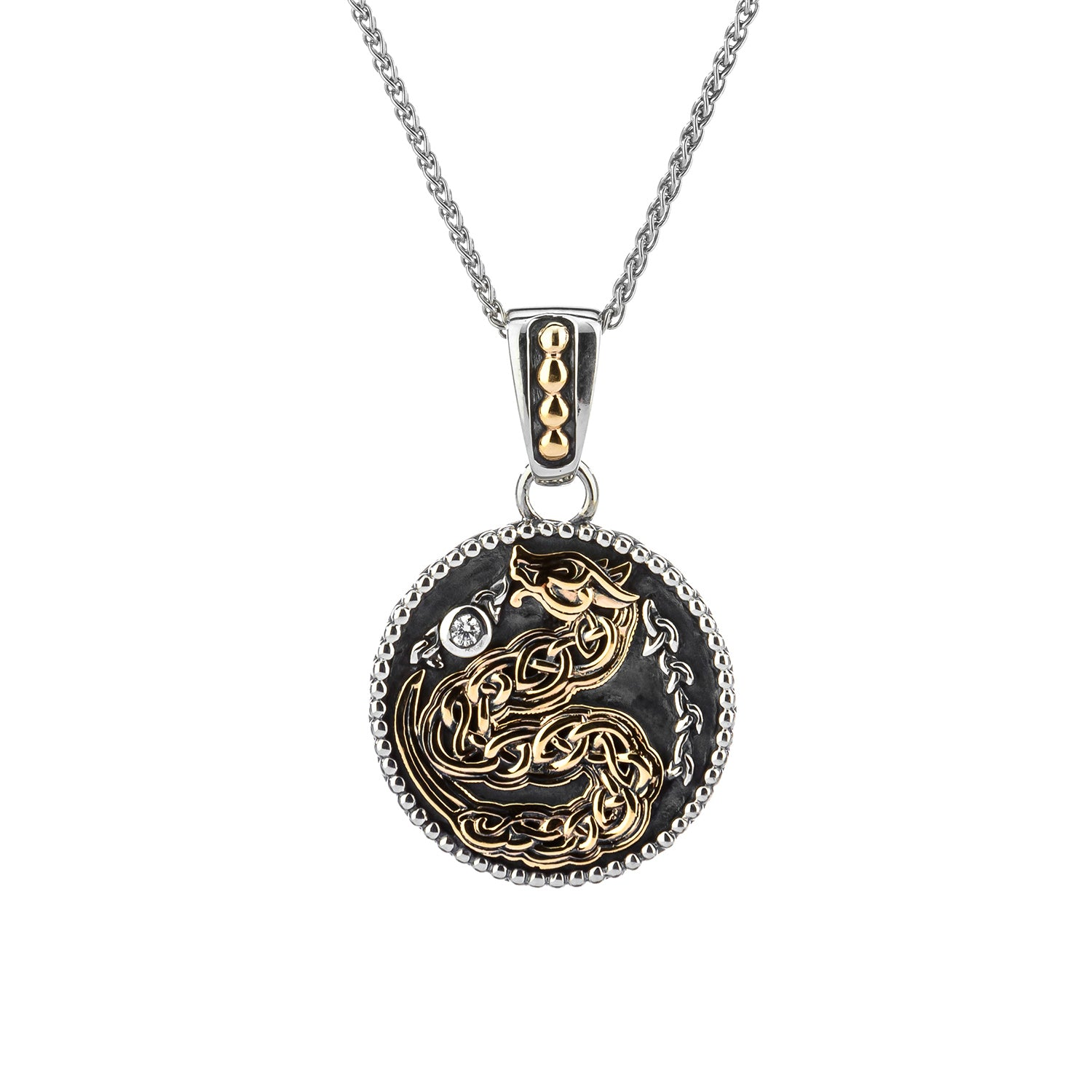 Pendant Oxidized 10k CZ Medallion Reversible Dragon Small Pendant from welch and company jewelers near syracuse ny