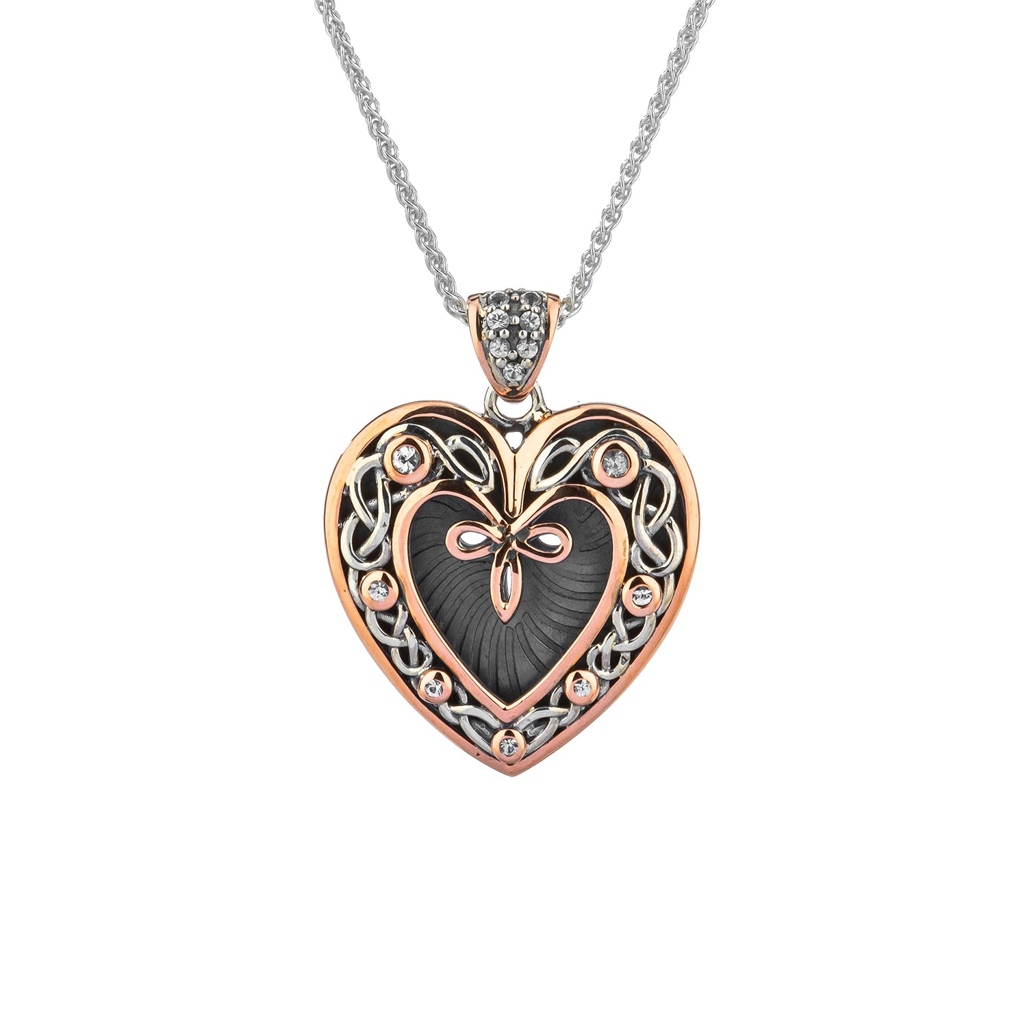 Pendant Oxidized 10k Rose White Sapphire Celtic Heart Pendant from welch and company jewelers near syracuse ny
