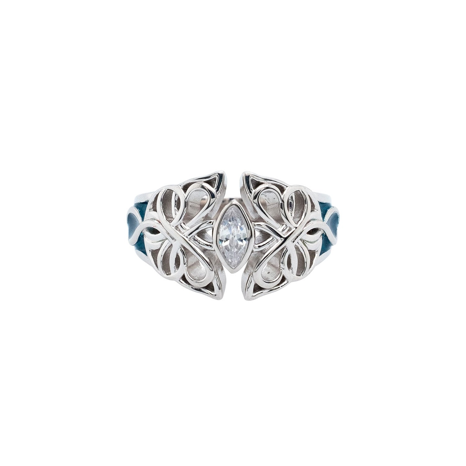 Ring Bands Sky Blue Enamel and White CZ Butterfly Ring (Tapered) from welch and company jewelers near syracuse ny