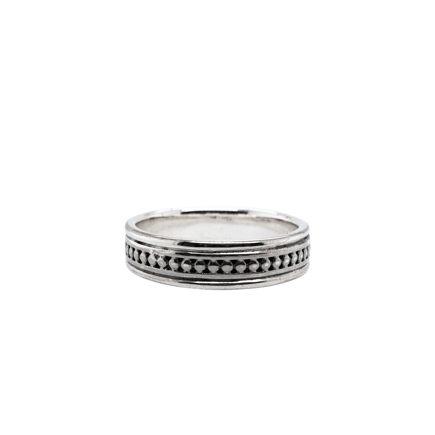 Ring Bands Beaded Ring with Plain Rails from welch and company jewelers near syracuse ny