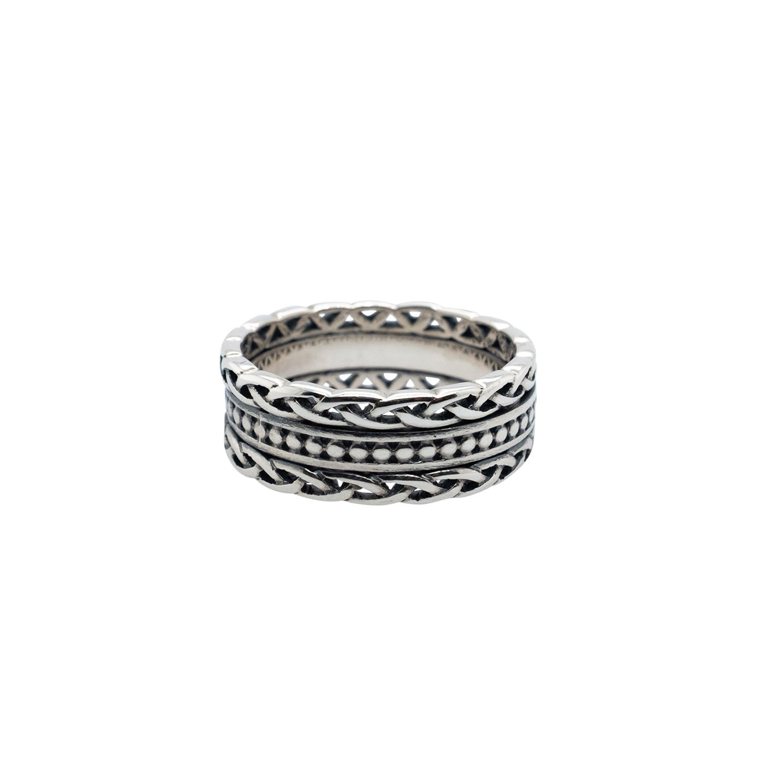 Ring Bands Beaded Ring with Knotwork Rails from welch and company jewelers near syracuse ny
