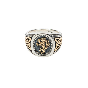 Ring Bands Oxidized 10k Lion Rampant Large Ring (Tapered) from welch and company jewelers near syracuse ny