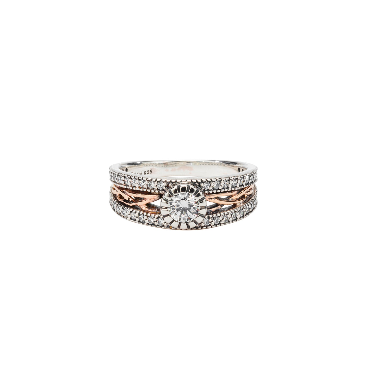 Ring Bands Oxidized 10k Rose CZ Brave Heart Ring (Tapered) from welch and company jewelers near syracuse ny