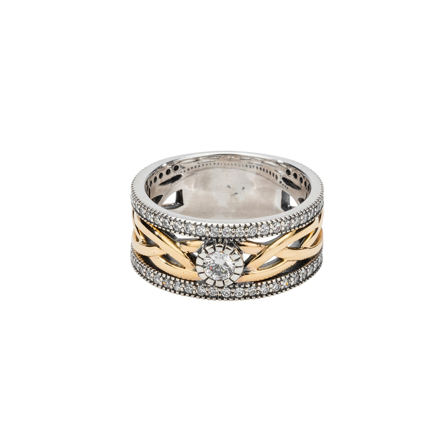 Ring Bands Oxidized 10k Yellow CZ Brave Heart Ring from welch and company jewelers near syracuse ny