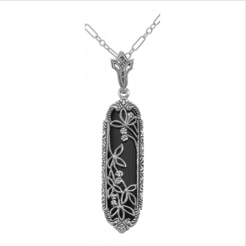 Black Onyx Filigree Sterling Pendant
