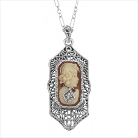 Sterling Cameo and Diamond Necklace