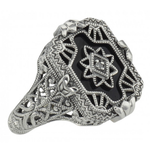 Sterling Silver Black Onyx Filigree Ring