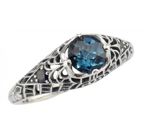 Sterling London Blue Topaz and Sapphire Ring