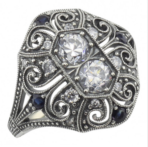 Sterling Silver Sapphire and CZ Ring